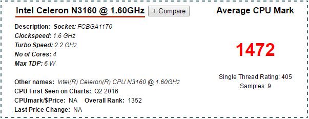 Intel-Celeron-N3160-cpubenchmark